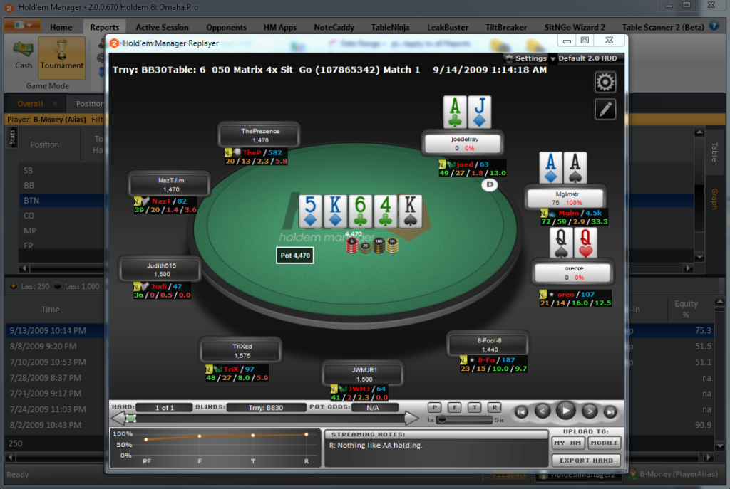 What is the interface and functionality of one of the most popular programs for poker players